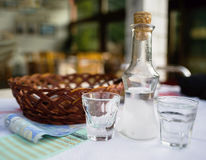 Horizontal vivid Greece raki in cafe royalty free stock photos