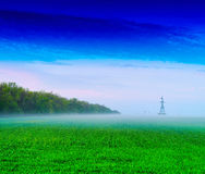 Horizontal vivid green power line source background backdrop Stock Photos