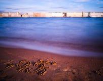 Horizontal vivid i love Saint Petersburg on beach writing backgr Royalty Free Stock Images