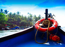 Horizontal vivid Indian boat life preserver Stock Photography