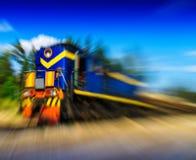 Horizontal vivid moving train abstraction Royalty Free Stock Photo