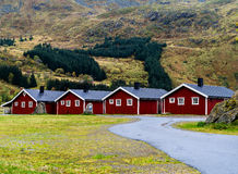 Horizontal vivid Norway campsite cabins nature background backdr Royalty Free Stock Image