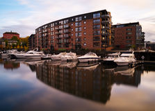 Horizontal vivid Norway yachts in city reflection background bac Stock Photography
