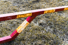Horizontal vivid orange radiation barrier danger zone Royalty Free Stock Images