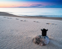 Horizontal vivid photography lens sunset on the beach. Background Royalty Free Stock Images