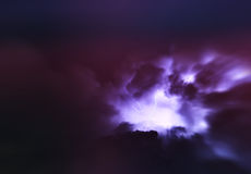 Horizontal vivid purple lightning storm cloudscape Royalty Free Stock Photography