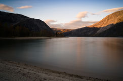 Horizontal vivid smooth Norway fjord bay landscape Royalty Free Stock Images