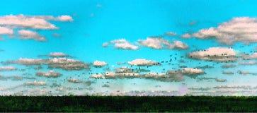 Horizontal vivid summer pixel dot landscape abstraction Stock Photo