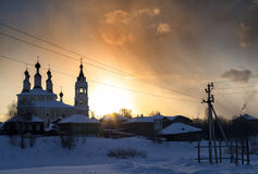 Horizontal vivid sunset near Russian church. Backdrop Royalty Free Stock Photos