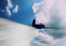 Horizontal vivid vintage combat pursuit plane Royalty Free Stock Photo