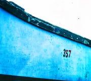 Horizontal vivid vintage fisherman boat detail closeup backgroun Royalty Free Stock Photos