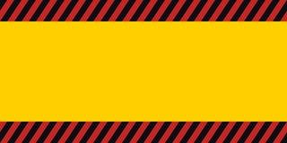 Horizontal warning banner frame, red yellow black, diagonal stripes, hazard backdrop wallpaper danger vector. Horizontal warning banner frame, red, yellow, black stock illustration
