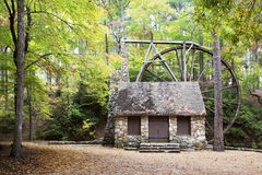 Horizontal water mill in woods Royalty Free Stock Images