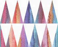 Horizontal watercolor texture based on seamless stripe pattern and long triangles background, watercolor paper, hand drawn with br Royalty Free Stock Photos
