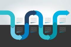 Horizontal wave infographic timeline. Web template for presentation, brochure, report. Stock Image