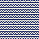 Horizontal wavy stripes seamless pattern. Blue repeated lines wallpaper. Abstract classic motif. Royalty Free Stock Photo