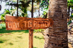 horizontal Way to Beach sign.CR2 stock photography