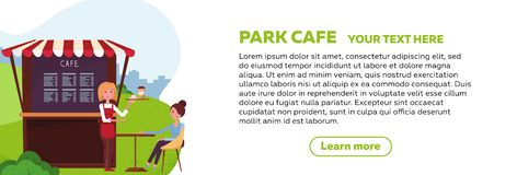 Horizontal web banner design for park cafe. Young girl waiter brought an order to client. small street coffee shop with awning in vector illustration