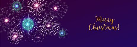 Horizontal web banner with fireworks displaying in dark evening sky and Merry Christmas holiday wish. Xmas celebration. Festive breathtaking pyrotechnics show Stock Image