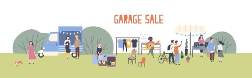 Horizontal web banner template for garage sale or outdoor festival with food van, men and women buying and selling goods. At park. Flat cartoon colorful vector vector illustration