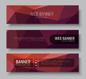 Horizontal web banners, abstract polygonal brown background Royalty Free Stock Photos