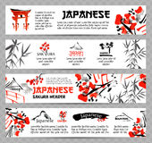 Horizontal website banners set with asia landscapes, buildings and blossoming sakura branch Stock Image