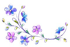 Horizontal white background with blue flowers Stock Photography