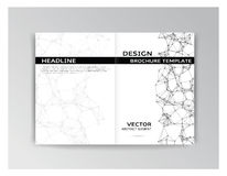 Horizontal white and black template of brochure Stock Photos