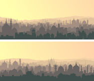 Horizontal wide banners of big muslim city at sunset. Royalty Free Stock Images