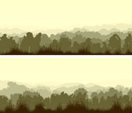Horizontal wide banners of deciduous wood. Set of horizontal wide banners of deciduous wood with grass in light green tone vector illustration