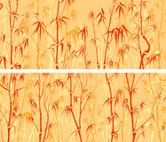 Horizontal wide banners with many bamboos in asian style. Stock Photography