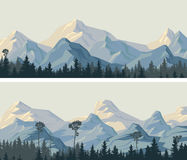 Horizontal wide banners of snowy mountains. Royalty Free Stock Photography