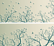 Horizontal wide banners of tree branches and flock of birds. Stock Photography