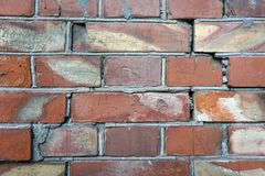 Horizontal wide brick wall. Vintage house facade.Cracked Dark Red Old Brick Wall Texture. Damaged Brown Abstract Blank Stonewall B. Ackground. Ruinous Brickwall royalty free stock image