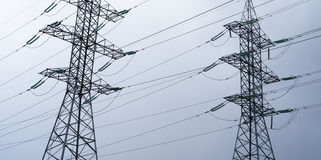 Horizontal wide industrial power lines background Stock Photos