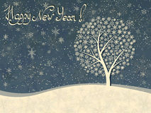 Horizontal winter greeting card of snowfall with snow tree. Stock Photography