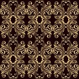 Horizontal yellow on brown ornamental seamless Royalty Free Stock Images