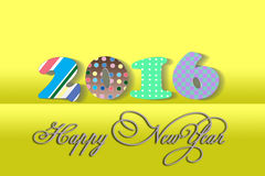 Horizontal yellow digital background Happy New. Picture of Happy New Year sign on bright yellow background. Horizontal digital wintertime festive background Stock Photography
