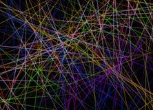 Horizontale Überfahrt von multi Farblinien auf schwarzem Hintergrund vektor abbildung