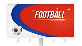 Horizontale affiche met het spelen bal op wit aanplakbord Achtergrond van voetbal of voetbal de kop van het wereldkampioenschap V Stock Foto