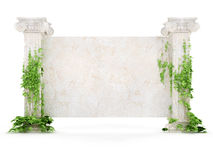 Horizontale Altertumsanschlagtafel abgedeckt mit Efeu Lizenzfreies Stockfoto