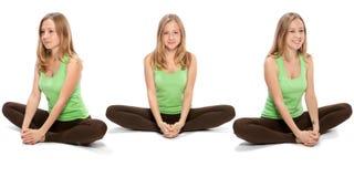Horizontale assemblage van de drie hoeken van een meisje stock afbeelding