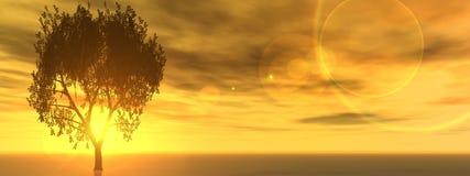Horizontale banner met een geïsoleerde boom op horizon Stock Afbeelding