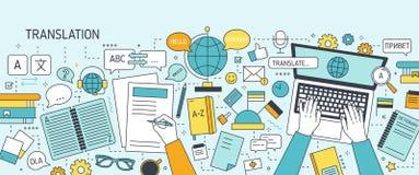 Horizontale banner met handen die op laptop toetsenbord typen en op papier schrijven Het werk van taalkundige of vertaler, vertal stock illustratie