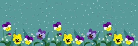 Horizontale banner van turkooise kleur met vergeet-mij-nietjebloemen en pansies Vector banner vector illustratie