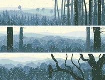 Horizontale banners van de winterhout. Stock Afbeeldingen