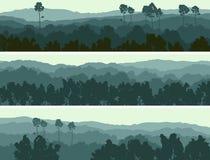 Horizontale banners van heuvels vergankelijk hout. Royalty-vrije Stock Foto