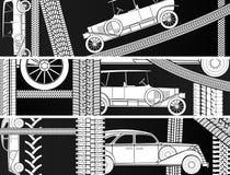Horizontale banners van oude uitstekende auto. Royalty-vrije Stock Afbeeldingen