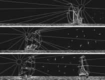 Horizontale banners van varende schepen met vogels. Royalty-vrije Stock Afbeeldingen