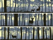 Horizontale banners van wilde dieren in hout. Stock Afbeelding